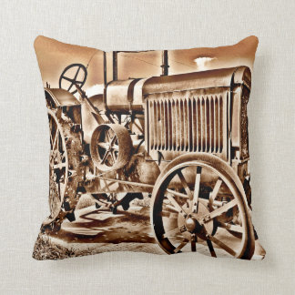 Antique Tractor Farm Equipment Classic Sepia Throw Pillow