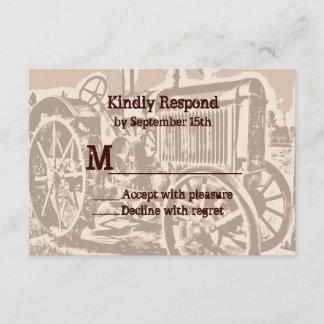 Antique Tractor Farm Wedding RSVP Cards