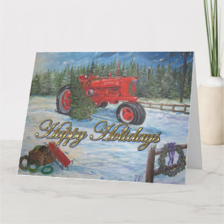 Antique Tractor Happy Holidays at a Tree Farm Card