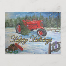 Antique Tractor Happy Holidays at a Tree Farm Holiday Postcard