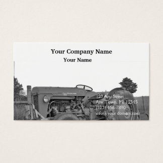 Antique Tractor in Black and White Business Card