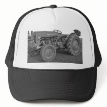 Antique Tractor in Black and White Cap