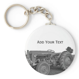 Antique Tractor in Black and White Keychain