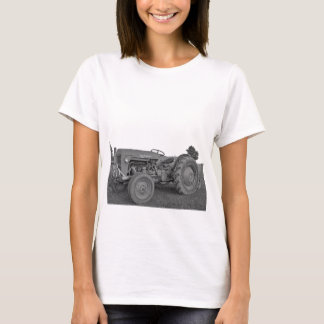Antique Tractor in Black and White Ladies T-Shirt