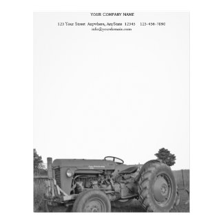 Antique Tractor in Black and White Letterhead