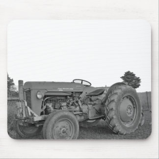 Antique Tractor in Black and White Mousepad