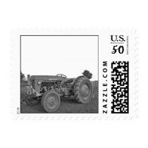 Antique Tractor in Black and White Postage Stamp