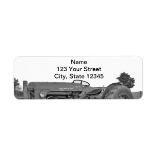 Antique Tractor in Black and White Return Address Label