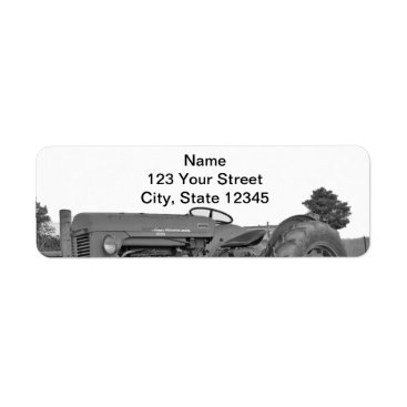 Professional Business Antique Tractor in Black and White Return Address Label