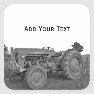 Antique Tractor in Black and White Sticker