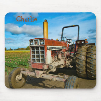 Antique Tractor in the Tulip Fields Mouse Pad