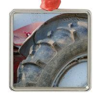 antique tractor metal ornament