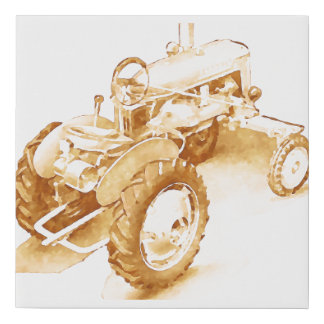 Antique tractor - watercolor faux canvas print