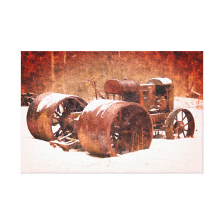 Antique Tractor Winter Canvas Print