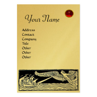 ANTIQUE TRAVEL, RUBY  MONOGRAM,gold metallic paper Large Business Cards (Pack Of 100)