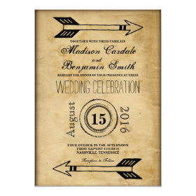 Antique Tribal Arrow Vintage Wedding Invitations