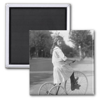 Antique Tricycle Girl, 1913 2 Inch Square Magnet