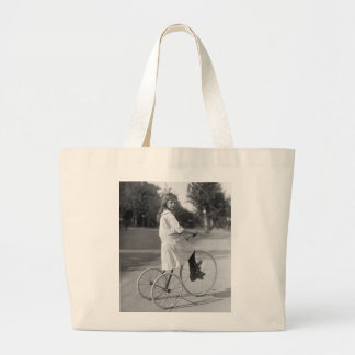 Antique Tricycle Girl, 1913 Large Tote Bag