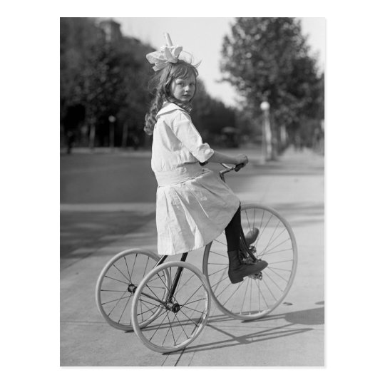 Antique Tricycle Girl, 1913 Postcard