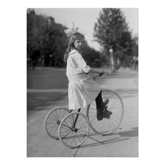 Antique Tricycle Girl, 1913 Poster