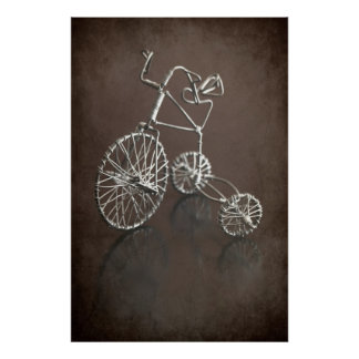 Antique tricycle in brown Poster