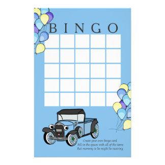 Antique Truck and Balloons Bingo Card