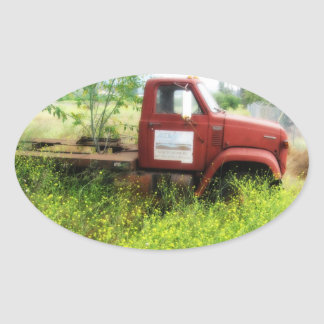 Antique Truck and Tree Oval Stickers