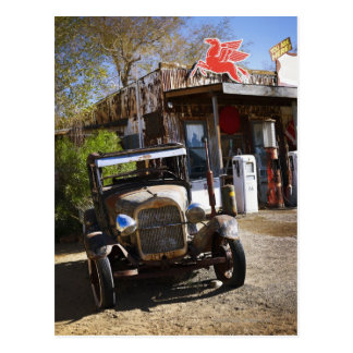 Antique truck at general store in the American Postcard