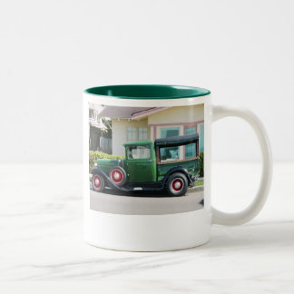 antique truck, THE BEST THINGS IN LIFE HAVE BEE... Two-Tone Coffee Mug