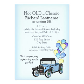Antique Truck with Balloons Birthday Card