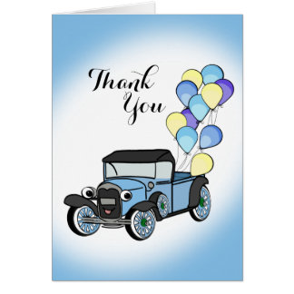 Antique Truck with Balloons Thank You Card