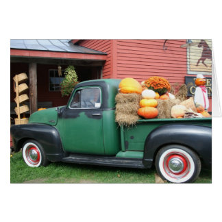 Antique Truck with fall harvest Card