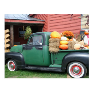 Antique Truck with fall harvest Postcard