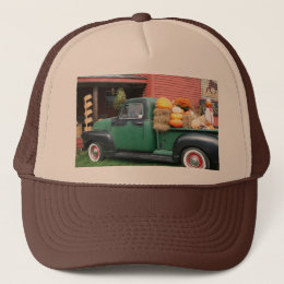 Antique Truck with fall harvest Trucker Hat