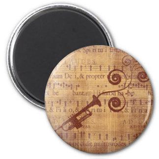 Antique Trumpet 2 Inch Round Magnet