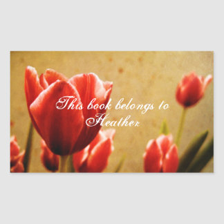 Antique Tulips Book Labels Rectangular Sticker
