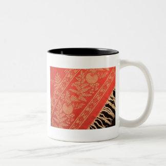 Antique Turkey Red Damask Two-Tone Coffee Mug