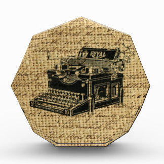 antique typewriter design on burlap background acrylic award