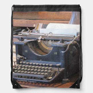 Antique Typewriter Drawstring Bag