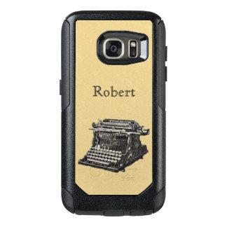 Antique Typewriter Illustration in Black White OtterBox Samsung Galaxy S7 Case