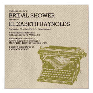 Antique Typewriter Keys Bridal Shower Invitations Personalized Announcement