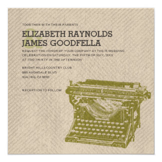 Antique Typewriter Keys Wedding Invitations Personalized Announcements