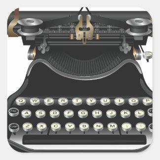 Antique Typewriter Square Sticker