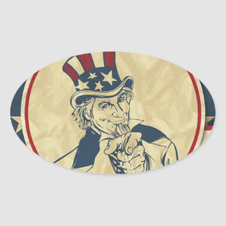 antique uncle sam oval sticker