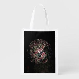 Antique unique pink orchid trinket ball reusable grocery bag