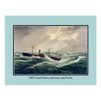 Antique United States mail steam ship Pacific Postcard