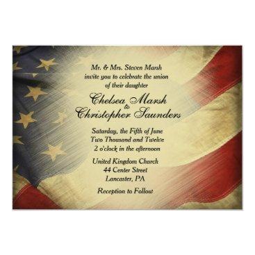 Antique US Flag Wedding Invitation