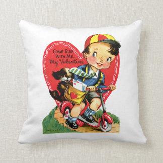 Antique Valentine Boy with Puppy Throw Pillow