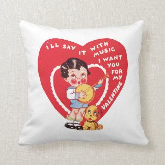 Antique Valentine Girl with Puppy Throw Pillow