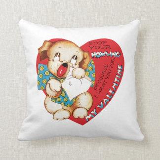 Antique Valentine Puppy Throw Pillow